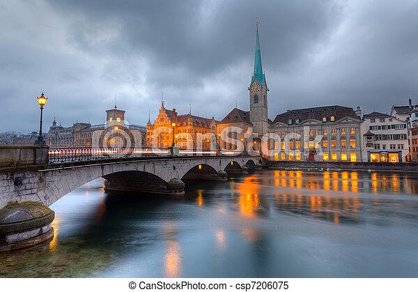 Zurich at dusk - csp7206075