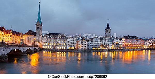 Zurich at dusk - csp7206092