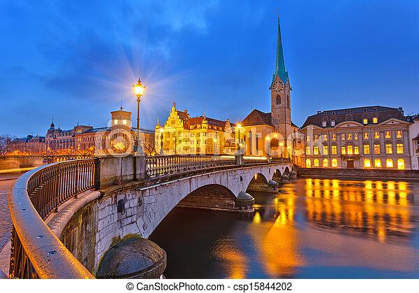 Zurich at night - csp15844202