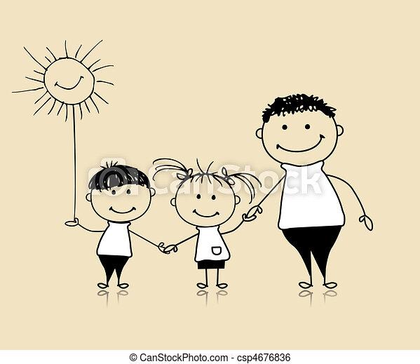 zusammen, zeichnung, glücklich, kinder, vater, familie, lächeln, skizze - csp4676836