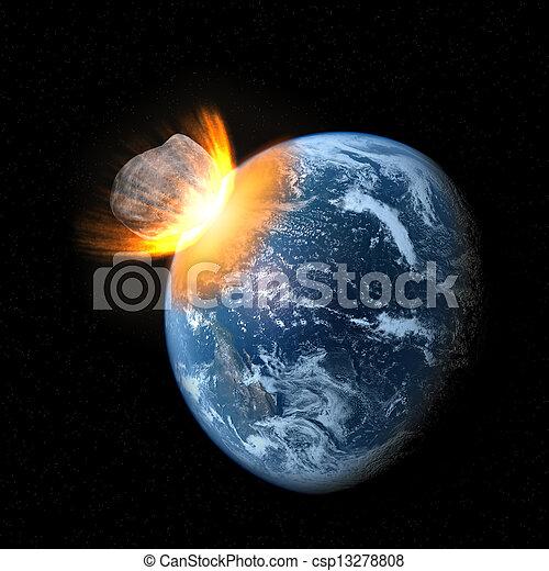 zusammenstoß, asteroid, erde - csp13278808