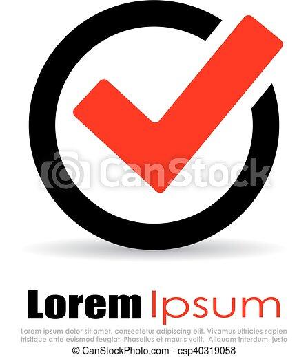 Zustimmung, zecke, logo. Freigestellt, hintergrund, zustimmung, logo ...