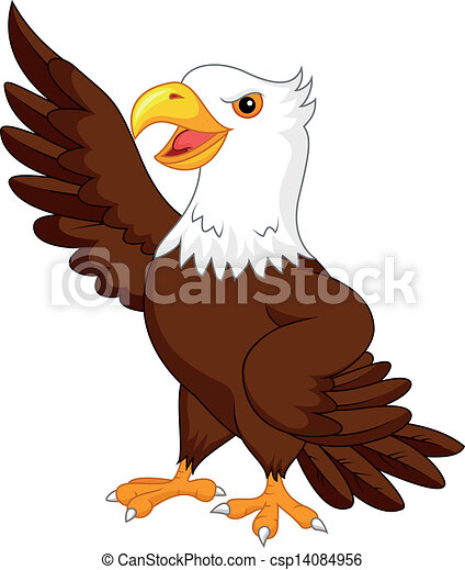 zwaaiende , adelaar, spotprent - csp14084956