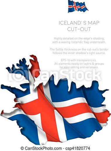 zwaaiende , kaart, vlag, bouwkarton, ijsland - csp41820774
