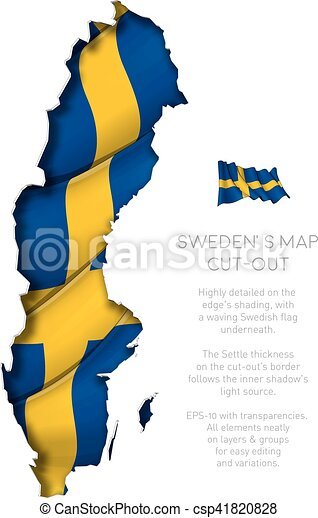zwaaiende , kaart, vlag, bouwkarton, zweden - csp41820828