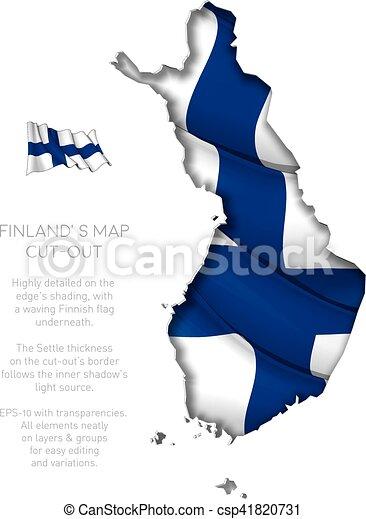 zwaaiende , kaart, vlag, finland, bouwkarton - csp41820731