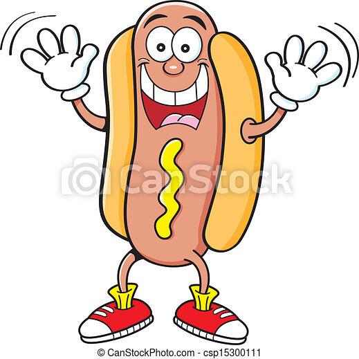 zwaaiende , spotprent, hotdog - csp15300111