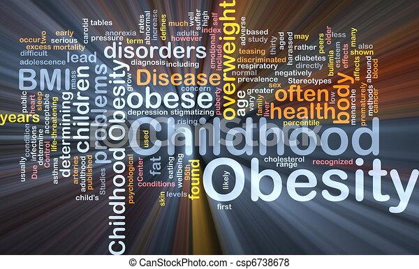zwaarlijvigheid, concept, kindertijd, achtergrond, gloeiend - csp6738678