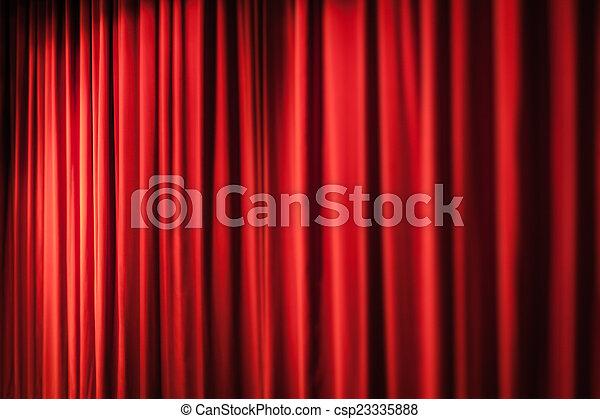 Zware, gordijnen, rood. Theater, gesloten, kleine, gordijn, rood ...