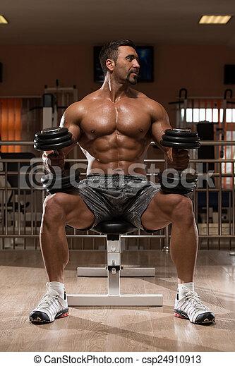 zware, schouders, bodybuilder, gewicht, oefening - csp24910913