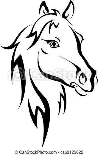 zwart paard, silhouette - csp3123622