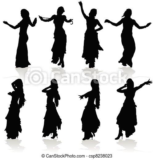 zwarte vrouw, silhouette, buik het dansen - csp8238023