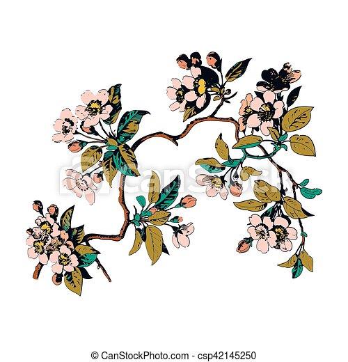 Zweige, bunte, blätter, bac, weisse blumen, botanik.... Clipart ...