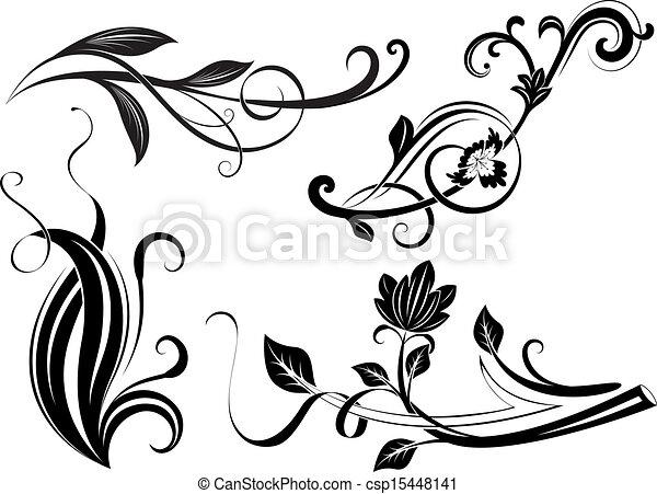zweige, elements., schwarz, floral entwurf, weißes - csp15448141