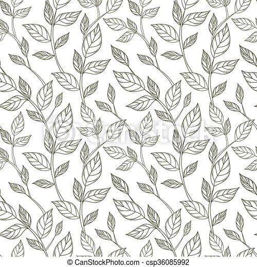 Zweige, muster, blätter, seamless, hand-drawn, schwarz, weißes ...