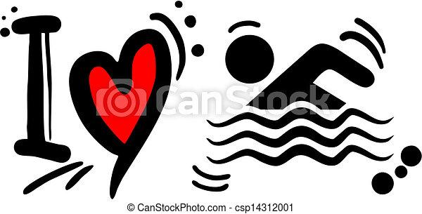 zwemmen, liefde - csp14312001