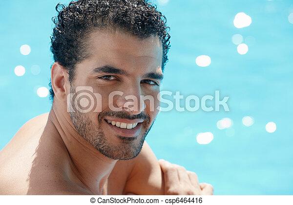 zwemmen, man, jonge, pool, zittende  - csp6464416